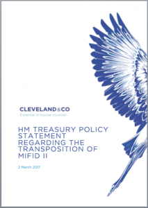 HM Treasury - Policy Statement on transposition of MiFID II