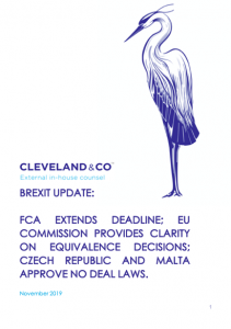 Brexit update: FCA extends deadline; EU Commission clarifies equivalence decision; Czech Republic and Malta approve no deal laws