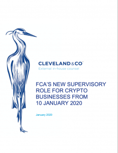 FCA'S new supervisory role for crypto businesses from 10 January 2020